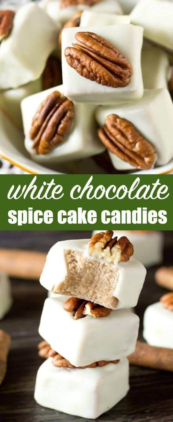 White Chocolate Spice Cake Candies are an easy, no-bake dessert that starts with a boxed cake mix. Fudge-like and bite-size, these would make an impressive addition to your cookie tray this baking season. White Chocolate Spice Cake Candies {Easy Cake Mix Fudge Recipe}