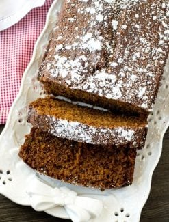 gingerbread loaf cake on a serving plate