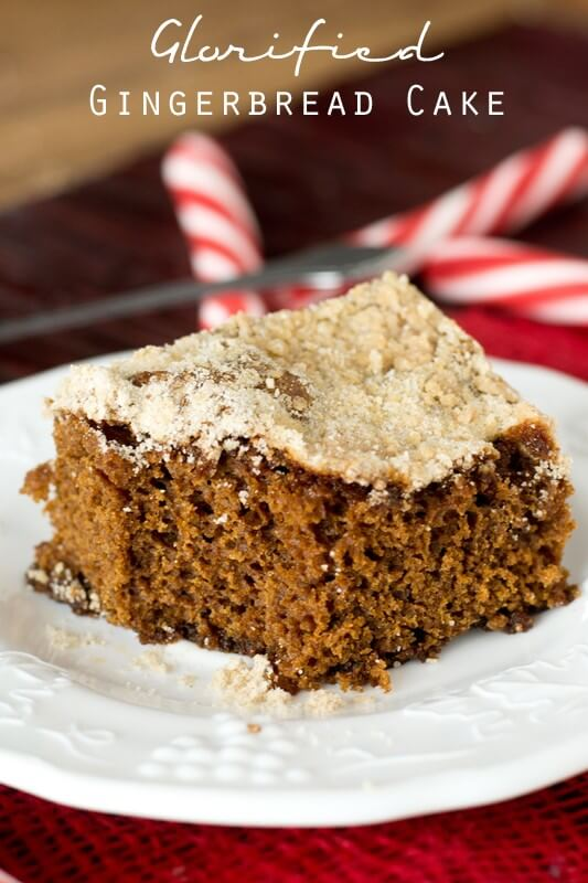 A warm piece of this simple Glorified Gingerbread Cake will be ready to eat in just an hour. Serve it with a dollop of whip cream on top for a light, festive dessert.