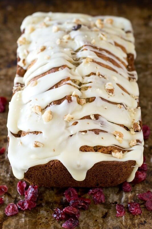 Cranberry Pecan Bread with White Chocolate Glaze