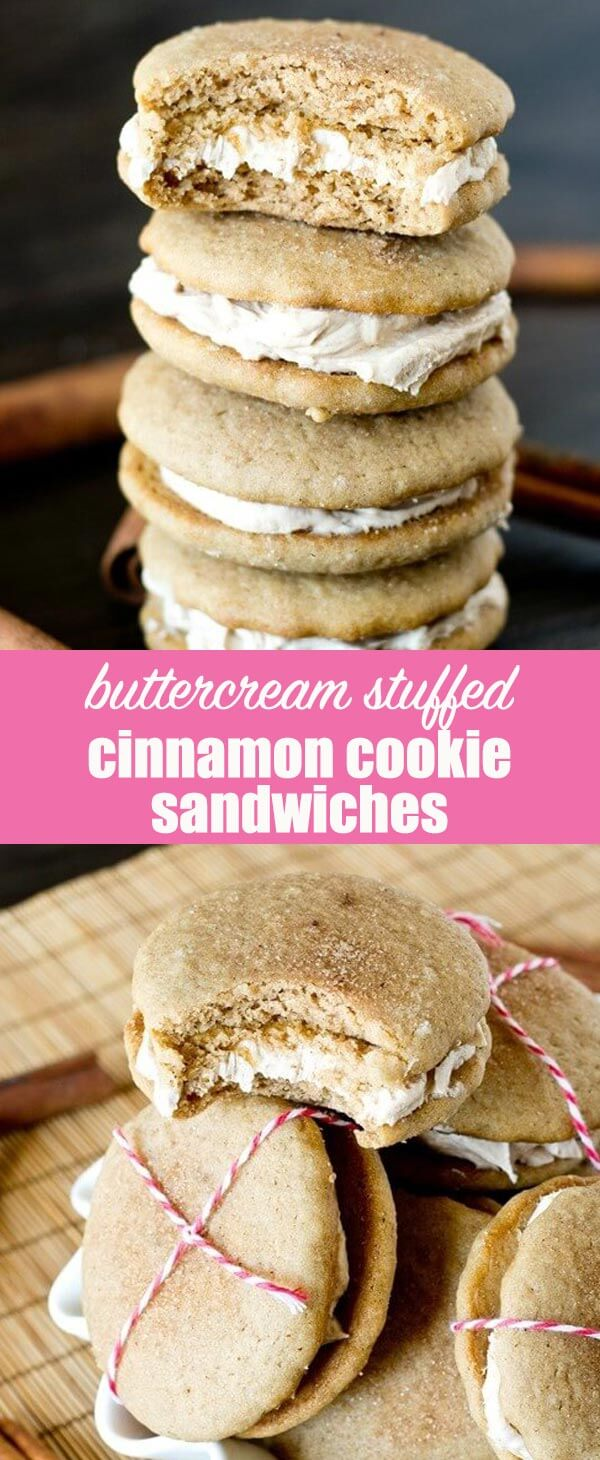 You'll fall in love with these soft, cinnamon cookies with a melt-in-your-mouth cinnamon buttercream stuffed inside. Make these bite size or make them big!