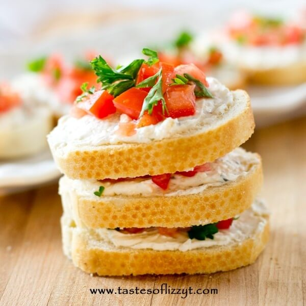 stack of tomato sandwich appetizers