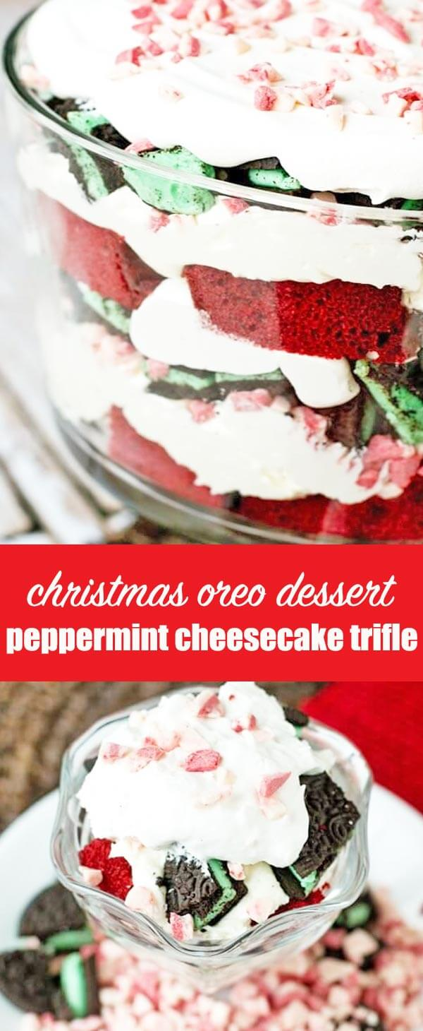 Red velvet cake layered with peppermint cream cheese filling, mint Oreos, Cool Whip and peppermint crunch candies fills this peppermint cheesecake trifle. This festive, layered, holiday dessert will serve (and wow!) a crowd. #christmas #dessert #redvelvet #trifle #cheesecake #oreo #peppermint