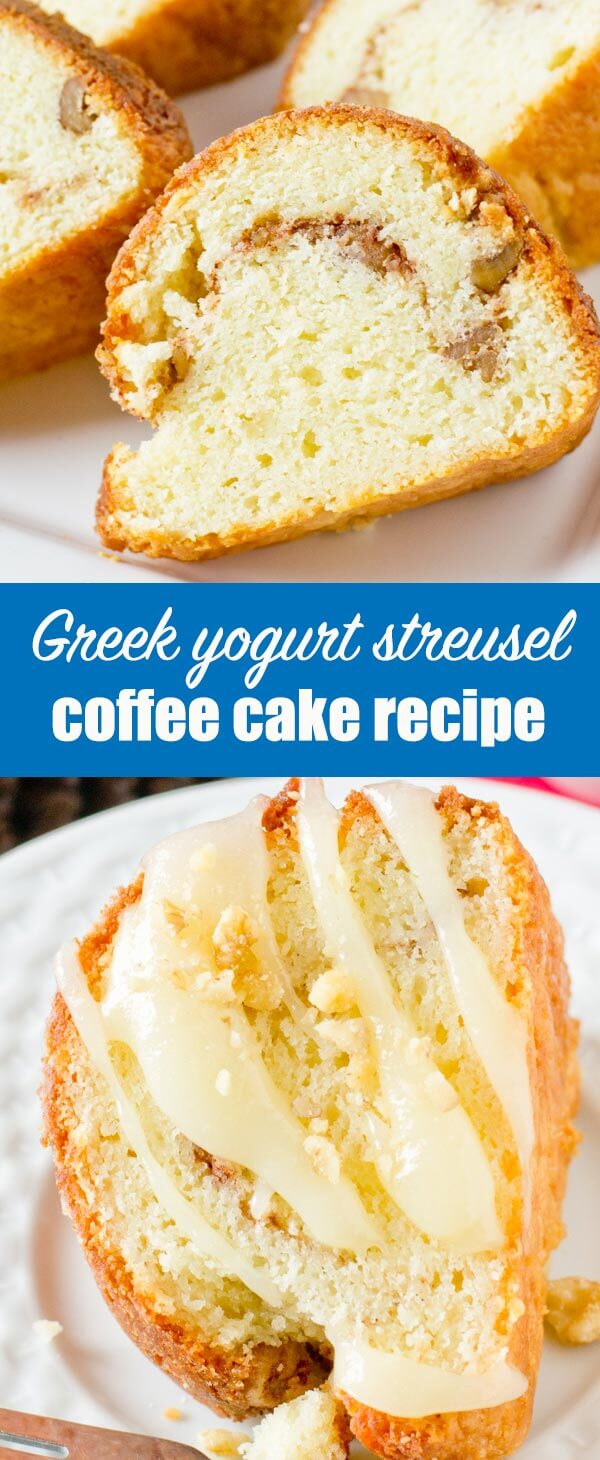 Classic Yogurt Streusel Coffee Cake is the perfect make-ahead dessert to serve alongside a cup of coffee. Easy coffee cake recipe for holiday entertaining! #coffeecake #cake #greekyogurt #yogurt #breakfast #dessert