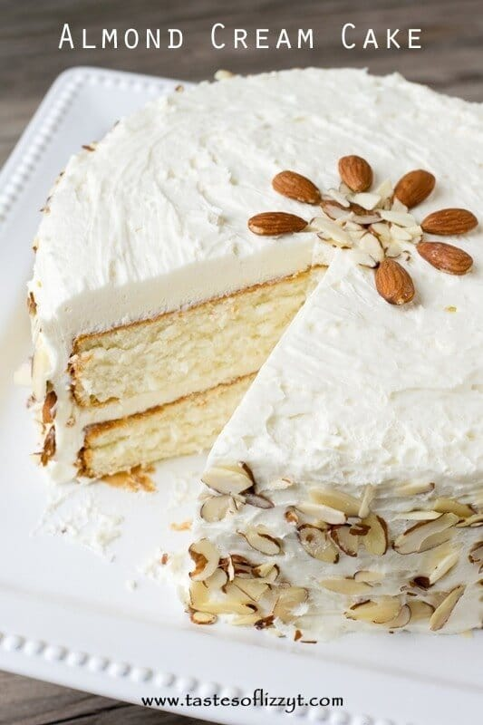 ... with the almond cake. Decorate the cake simply with sliced almonds