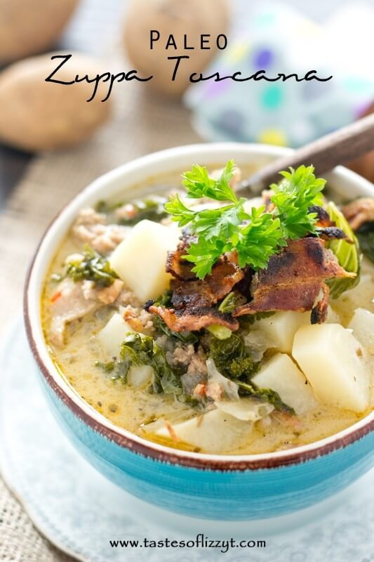 Paleo Zuppa Toscana is a rich soup filled with potatoes, kale, Italian ...