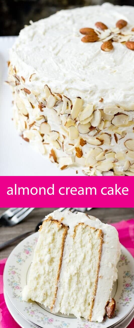 Light, moist and velvety, this Almond Cream Cake has a homemade cooked, whipped frosting that pairs perfectly with the almond cake. Decorate w/ sliced almonds. #almondcreamcake #whitecake white cake recipe #cookedfrosting #whippedfrosting #almondcake