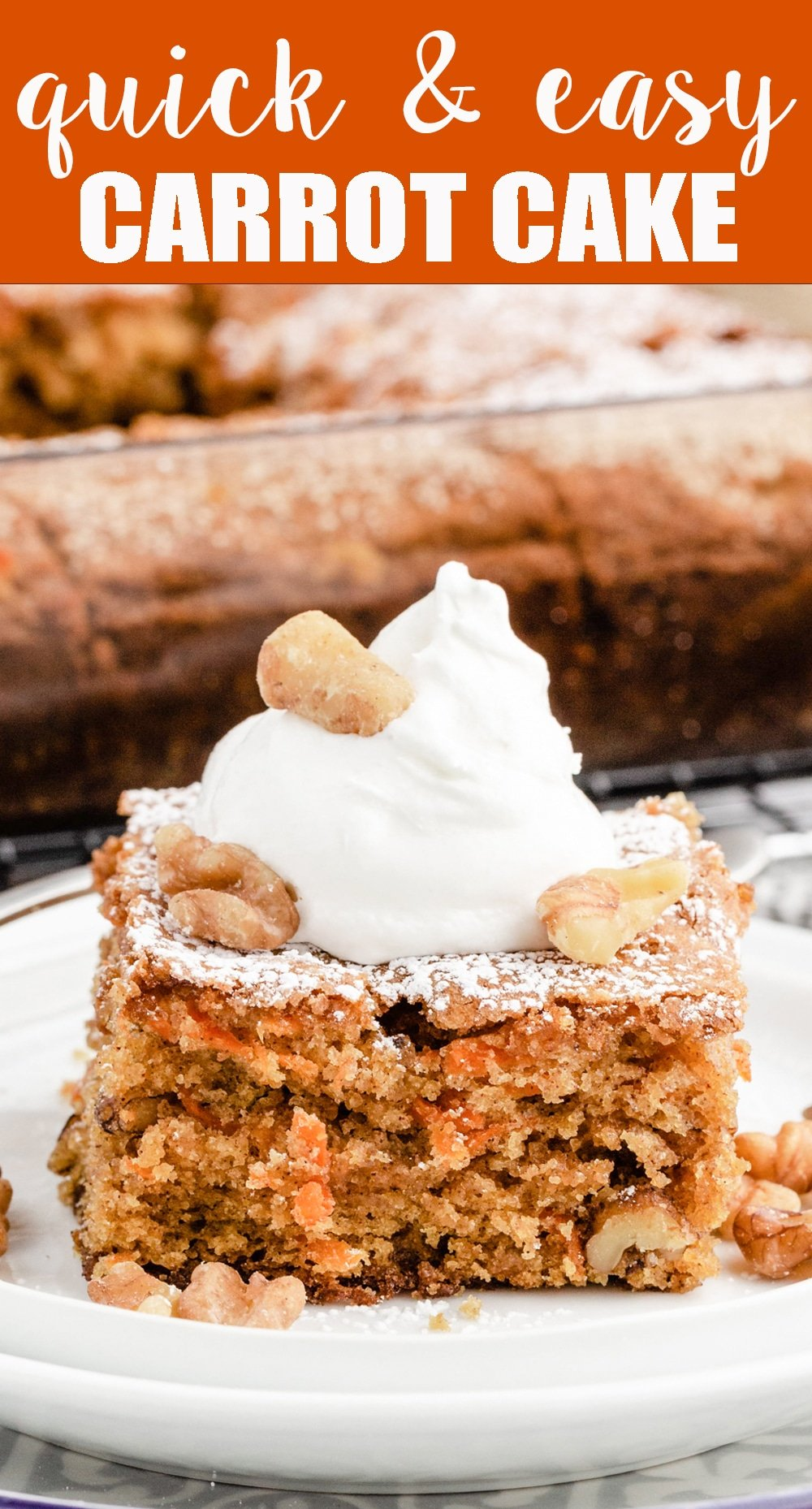 A deep-flavored, moist cake with carrots and walnuts in every bite. A dusting of powdered sugar tops this comforting carrot walnut cake. via @tastesoflizzyt