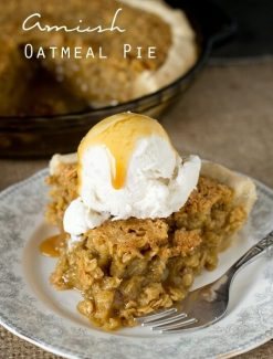 Comforting Amish Oatmeal Pie that tastes remarkably like pecan pie. Brown sugar gives a deep, rich flavor to this sweet, simple pie that is a favorite Amish country recipe.