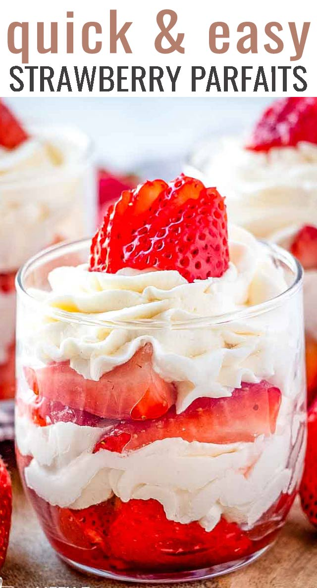 Strawberries & Cream Mini Parfaits: Macerated strawberries and a vanilla flavored whipped cream make up this light and tasty no bake dessert that is sure to please! #strawberries #whippedcream #parfaits #dessert via @tastesoflizzyt