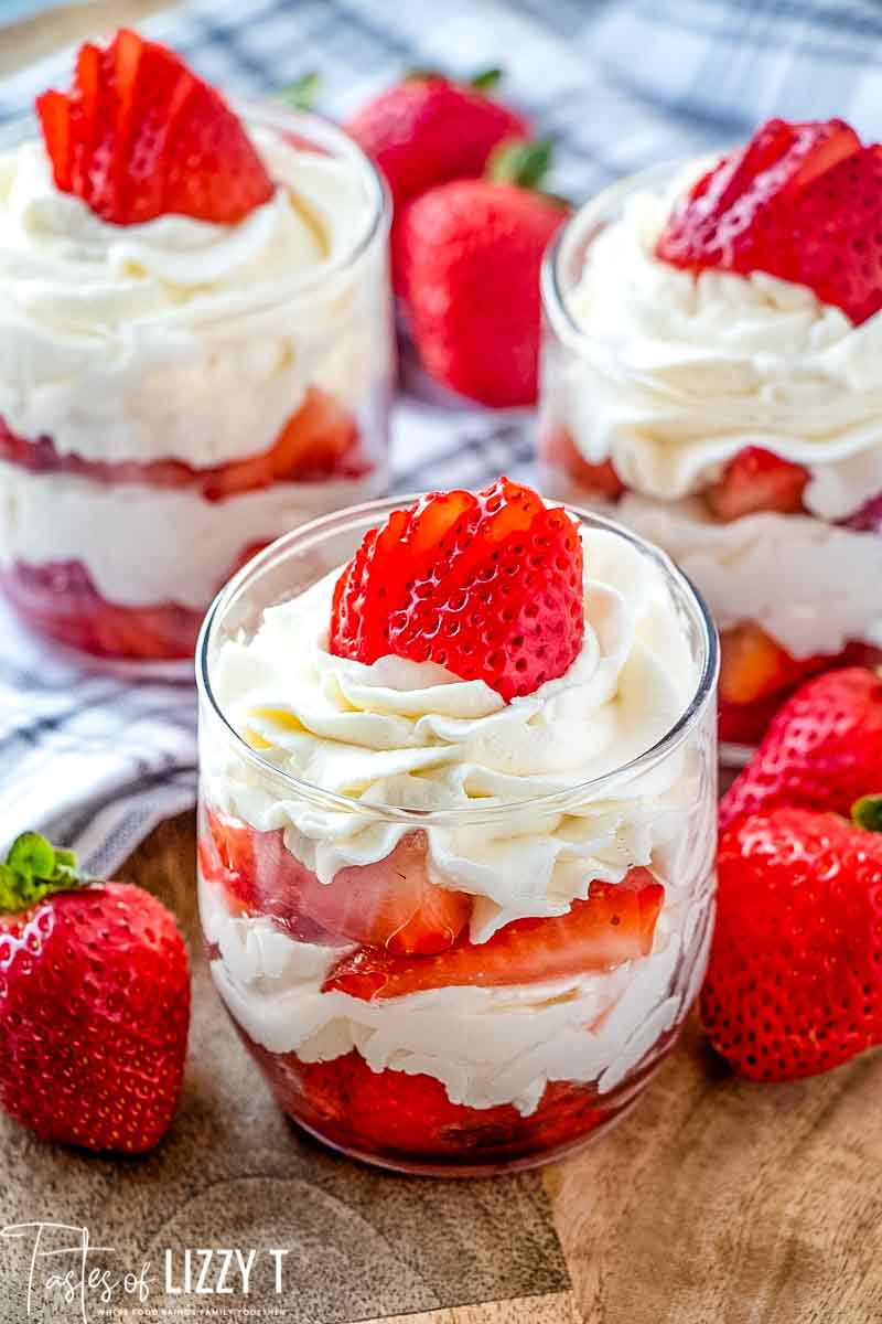 strawberry parfait in a glass cup