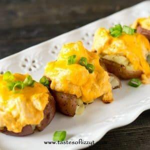 Buffalo Chicken Smashed Potatoes on a platter