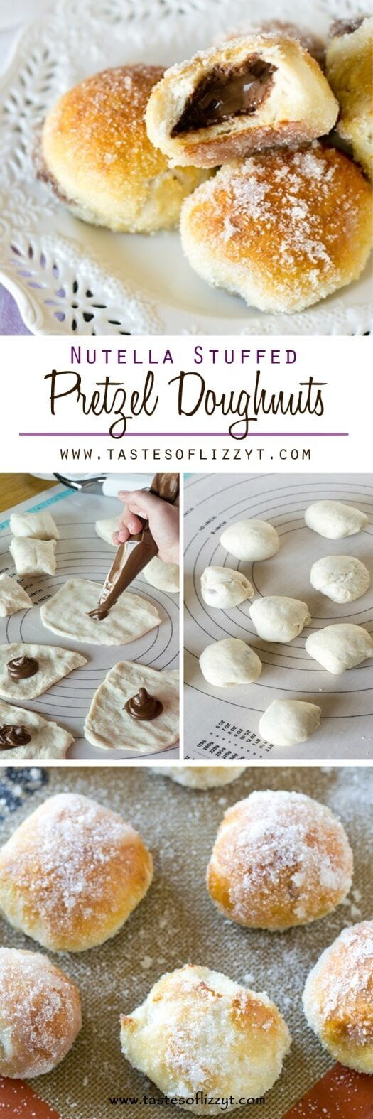 Nutella Stuffed Pretzel Doughnuts {Easy Doughnut Recipe for Kids to Make} A simple pretzel mix gets transformed into these baked Nutella Stuffed Pretzel Doughnuts. Soft, chewy pretzels with sugar coating and a Nutella center.