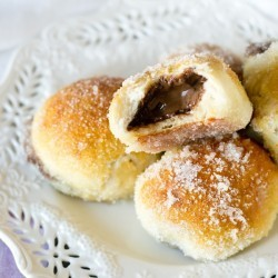 Nutella Stuffed Pretzel Doughnuts Recipe - Tastes of Lizzy T