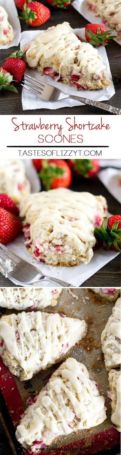 Soft, buttery strawberry shortcake scones stuffed with fresh strawberries and topped with sugary streusel and vanilla glaze. Breakfast at its best! how to make scones / easy strawberry scones / panera copycat scones