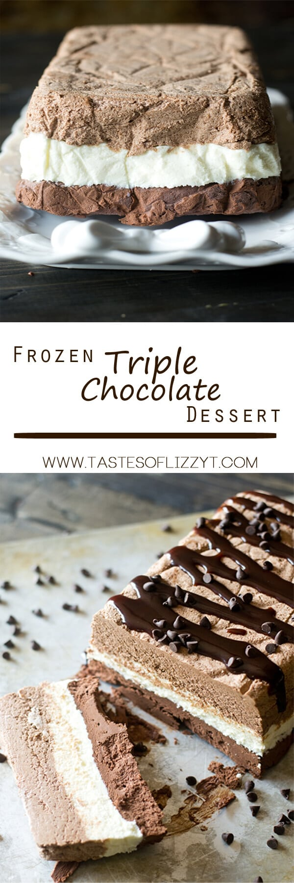Three layers of whipped chocolate ganache are frozen together in this Triple Chocolate Frozen Dessert. This frosty dessert has an intense chocolate flavor. Triple Chocolate Frozen Dessert {An Easy No Bake Dessert Recipe}