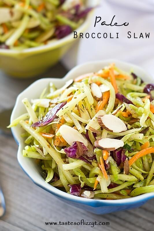 Paleo Broccoli Slaw A Healthy Vegetable Side Dish With Almonds Whole30 Friendly