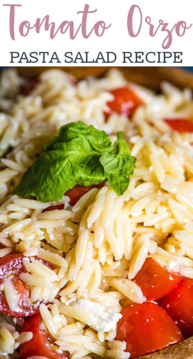 This Tomato Orzo Pasta Salad is a simple yet delicious summer salad recipe with fresh tomatoes, orzo pasta and feta cheese tossed in a basil vinaigrette. #salad #pasta #orzo #tomato #feta #summer via @tastesoflizzyt