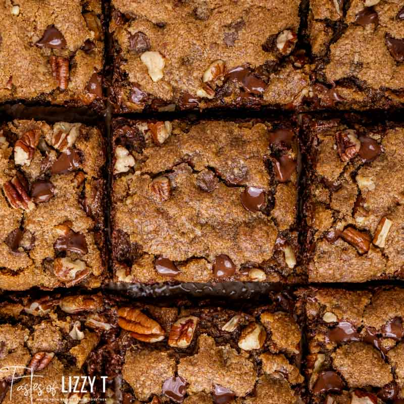 overhead view of cut cookie bars
