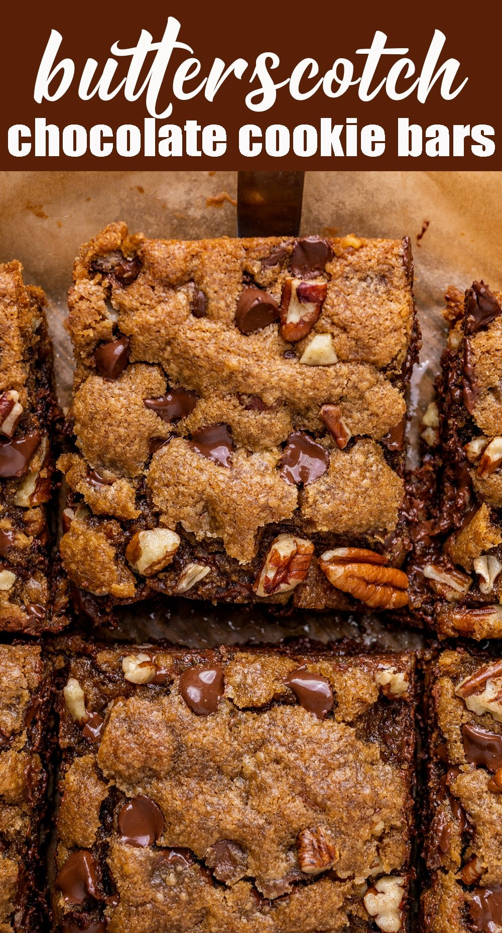 You'll fall in love with these soft, chewy, chocolate chip butterscotch cookie bars. Quicker than cookies, these sweet bars are stuffed with dark brown sugar, chocolate chips and pecans. via @tastesoflizzyt