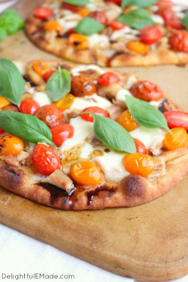 Grilled Chicken Caprese Pizza Made On Naan Bread With Tomatoes