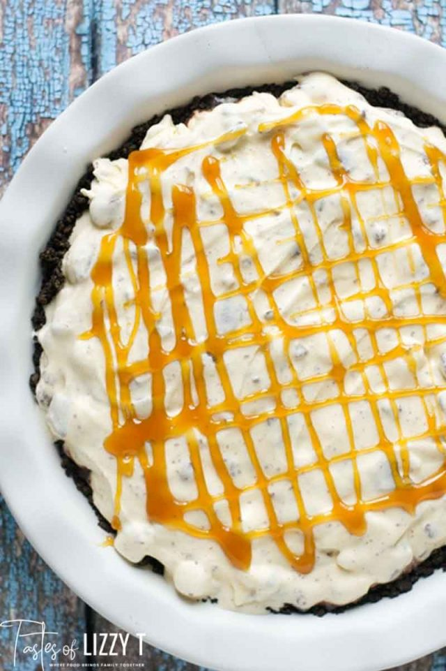 ice cream pie with caramel drizzle