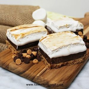 A graham cracker crust, sweet chocolate filling and crispy toasted marshmallow topping make up these Peanut Butter S'more Bars.