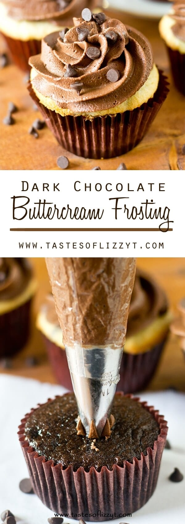 Rich, chocolatey, sweet, and smooth, this Dark Chocolate Buttercream Frosting is sure to please any chocolate lover! Perfect for cakes and cupcakes.