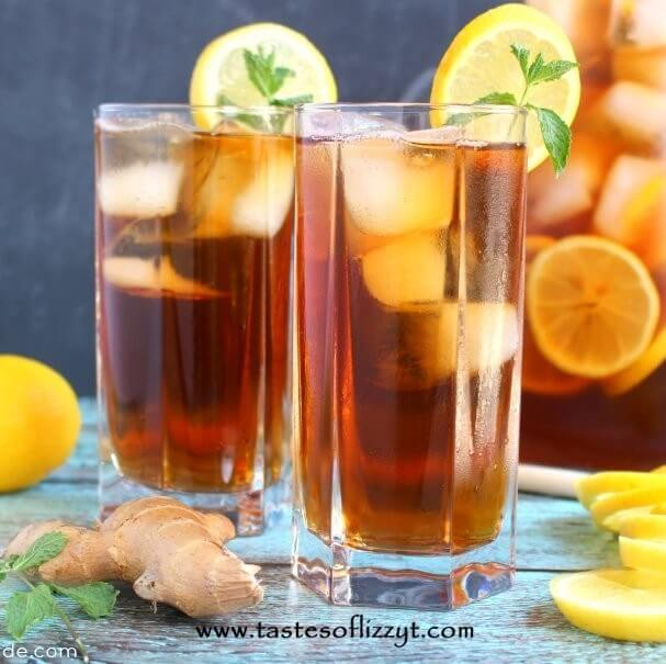 two cups of lemon sweet tea