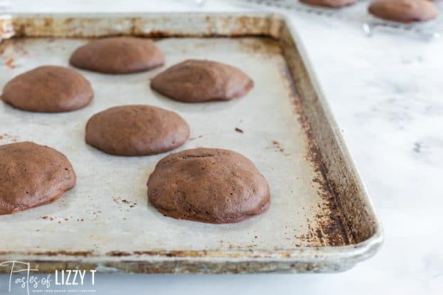 whoopie pies on a baking sheet