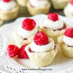 square image of raspberry tarts