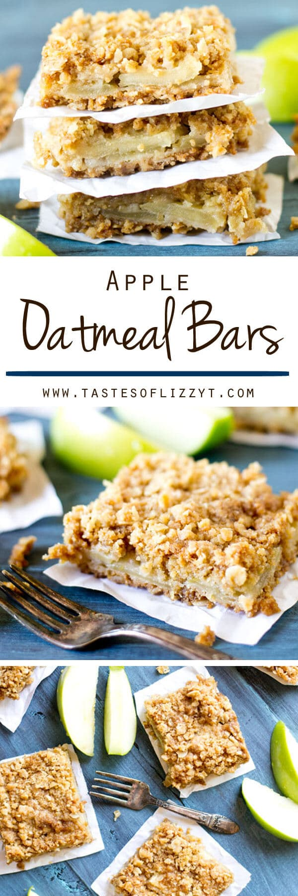 Layered Apple Oatmeal Bars are an easy apple dessert. Apples slices are stuffed between a soft, buttery, brown sugar oatmeal crust and topping.