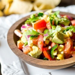 Corn, Tomato and Avocado Salad makes the ideal summer side dish to take advantage of the fresh garden produce. Serve with tortilla chips as a dip, too! Sugar free, light and healthy.