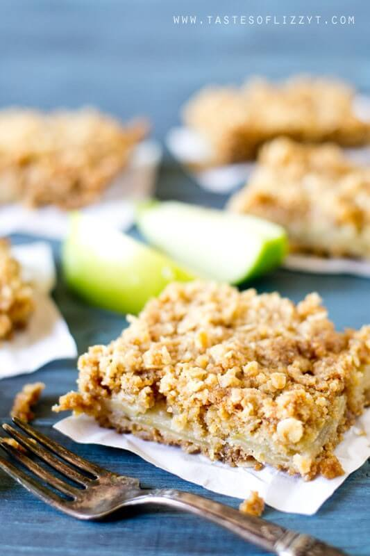 Layered Apple Oatmeal Bars. Apples slices stuffed between a soft, buttery, brown sugar and oatmeal crust and topping.