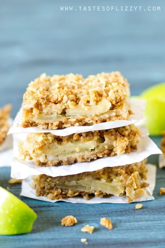 homemade apple bars with oatmeal crumble on top