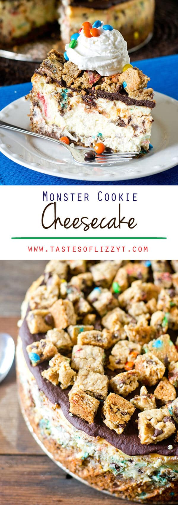 Your favorite cookie meets creamy cheesecake! This Monster Cookie Cheesecake will be a hit with cookie and cheesecake lovers alike. Monster Cookie Cheesecake Recipe { Homemade M&M Monster Cookies}