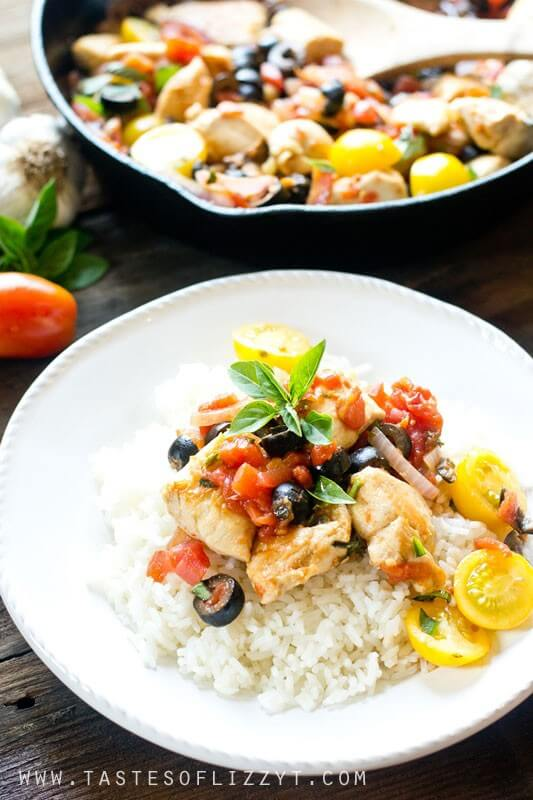 Mediterranean chicken one skillet healthy easy dinner in under 30 one skillet mediterranean chicken is a healthy dinner packed with veggies and protein and fresh herbs forumfinder Image collections