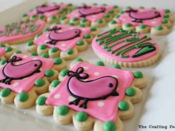 These bright and whimsical Easy Chickadee Decorated Sugar Cookies start off with a soft, chewy, buttery sugar cookie recipe, and they're decorated with royal icing tinted in shades of pink, bright green, and white. They're perfect for a baby shower or a little one's birthday party.