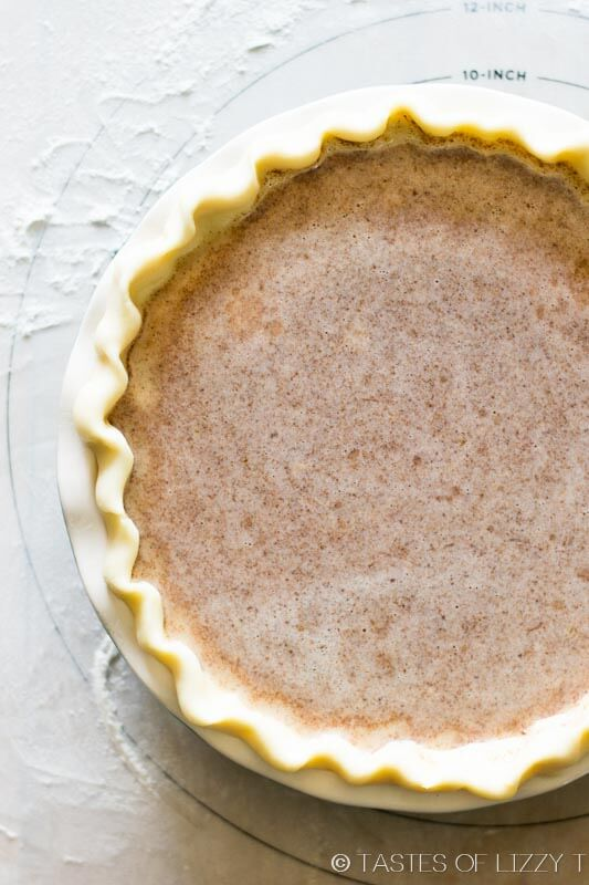 overhead image of a whole, uncut apple butter pie