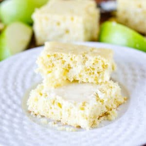 slices of homemade apple cornbread on a plate - this is one of the best apple recipes to make during apple picking season!