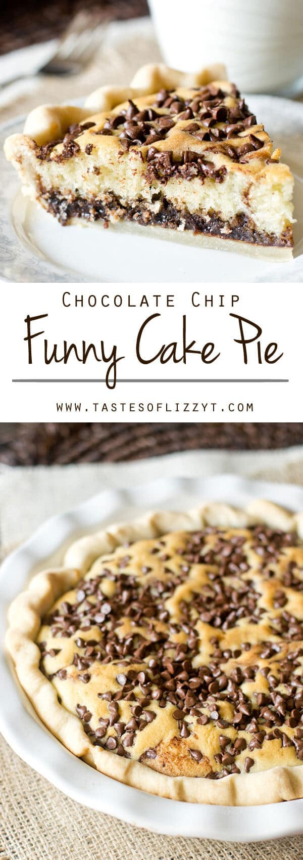 Chocolate Chip Funny Cake Pie is an old recipe with timeless appeal. Chocolate fudge is topped with a soft, buttery cake and bakes inside a pie shell. Chocolate Chip Funny Cake Pie {Chocolate Cake Pie Dessert Recipe}