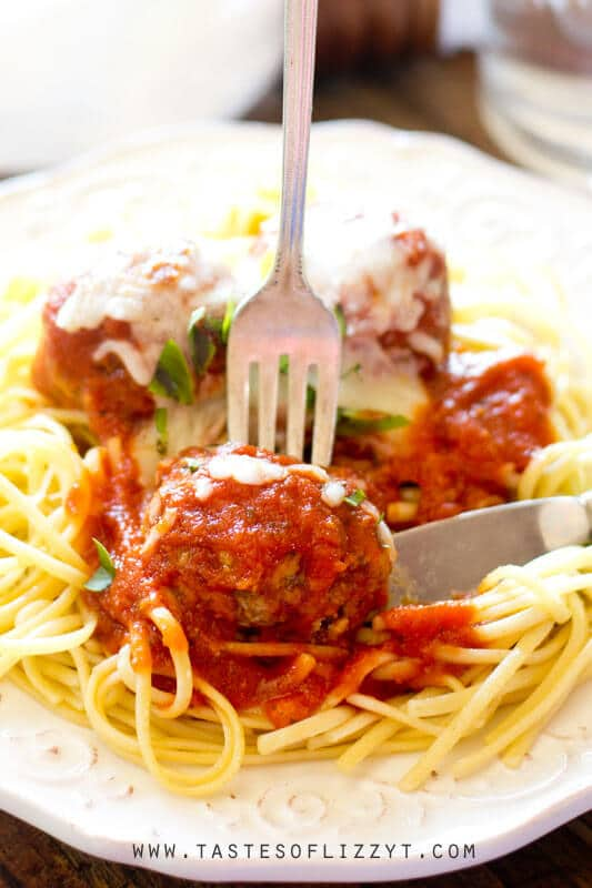 Classic spaghetti dinner with homemade Italian meatballs