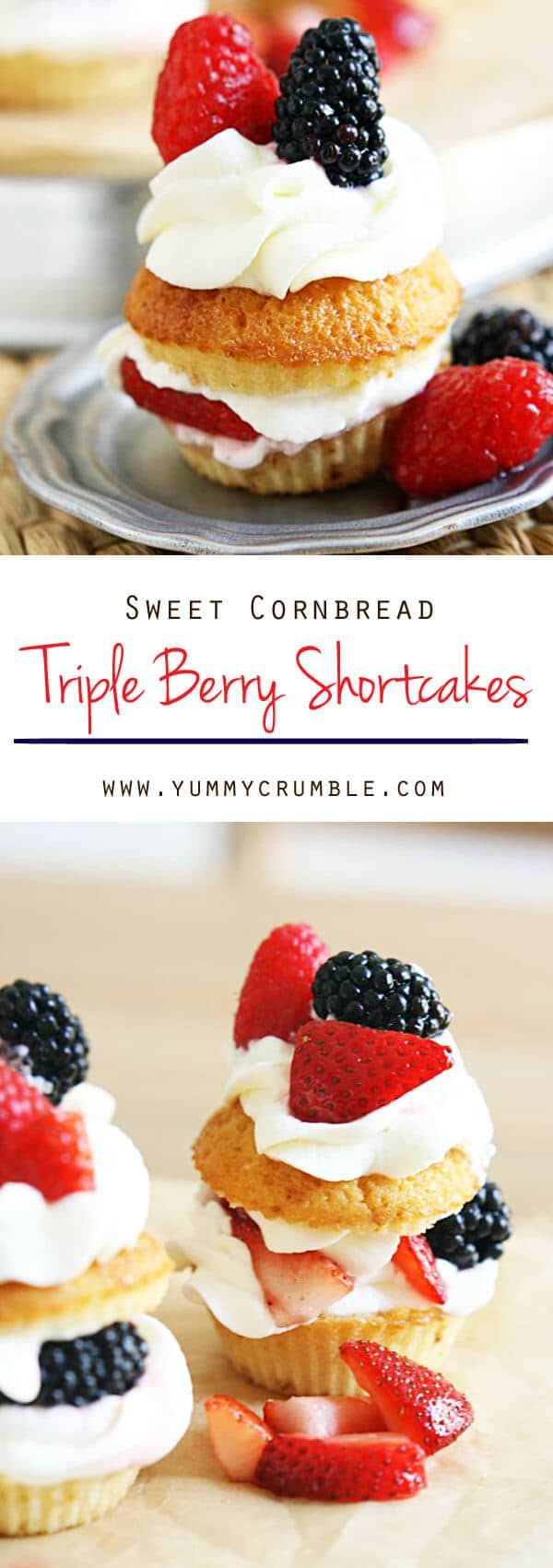 Sweet Cornbread Triple Berry Shortcakes. Triple berries sugared and piled with fluffy clouds of homemade whipped cream. The best shortcake you'll ever have!