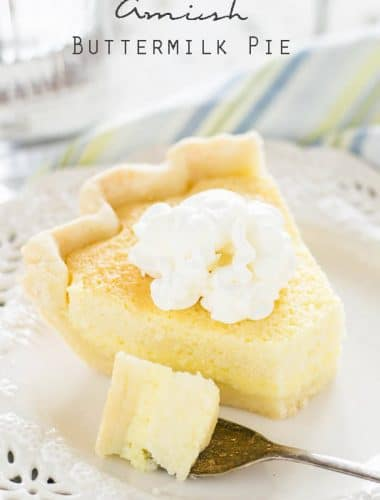This smooth, custard-like Amish Buttermilk Pie is a unique recipe with a sweet, fresh flavor. If you like sweet & tangy, this is the dessert recipe for you! Amish Buttermilk Pie {Old Fashioned Recipe for a Unique Pie}