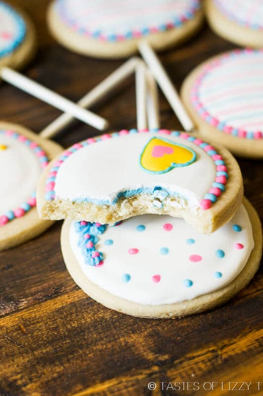 Our sugar cookie recipe and focus on these fun gender reveal cookies