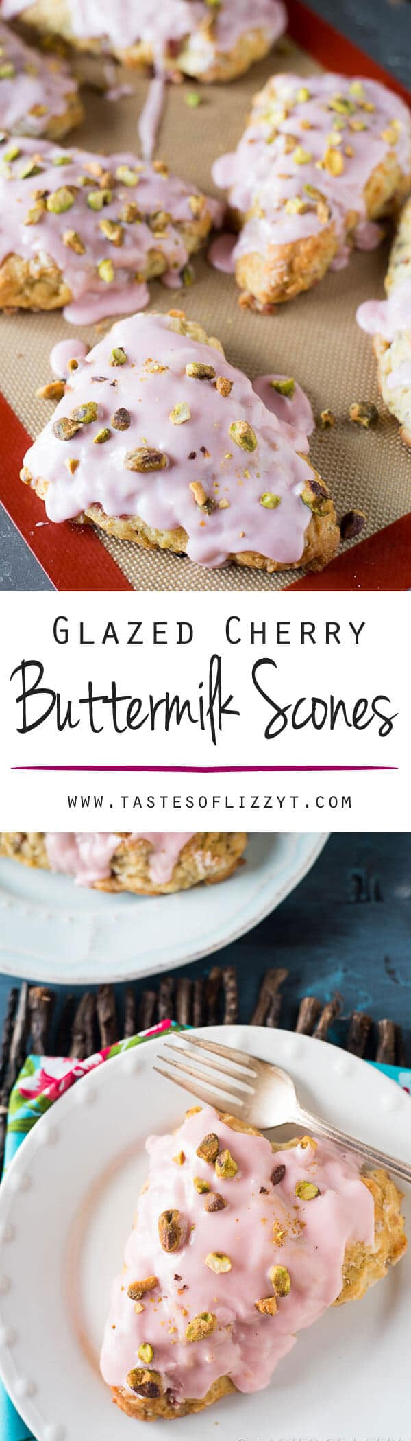 Learn how to make light, buttery, buttermilk scones. These glazed cherry buttermilk scones are topped with salty pistachio nuts.