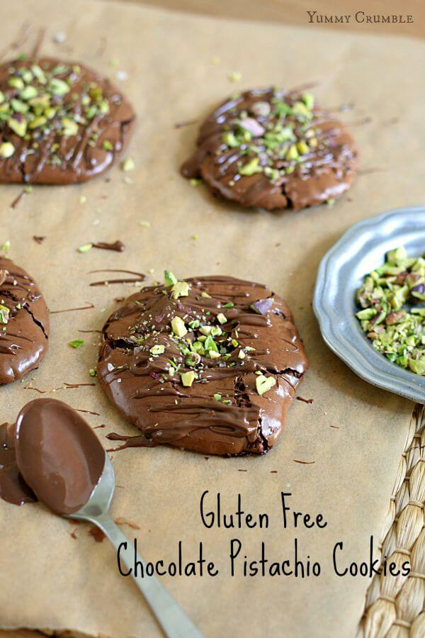 Rich dark chocolate, sea salt, Nutella and pistachios all packed into a flourless perfect little cookie. Don't let the title fool you. These Gluten Free Chocolate Pistachio Cookies will satisfy everyone's sweet tooth.