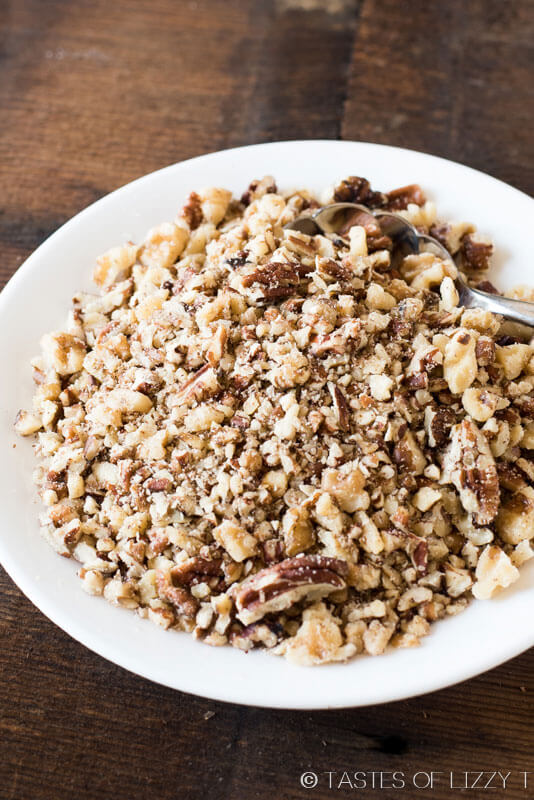 bowl of chopped pecans