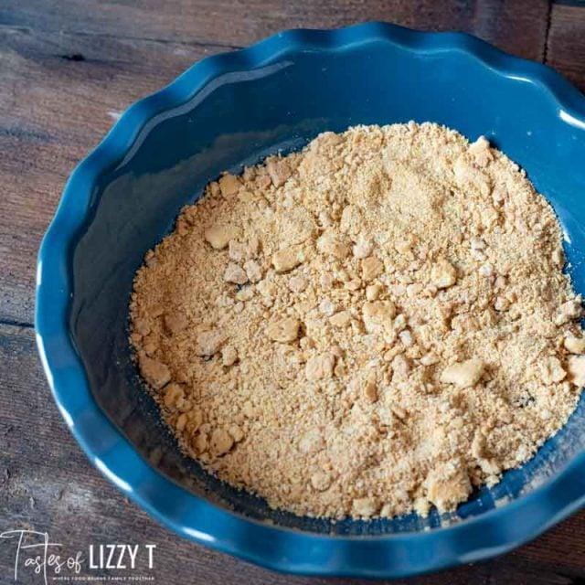 graham cracker crumbs in pie plate