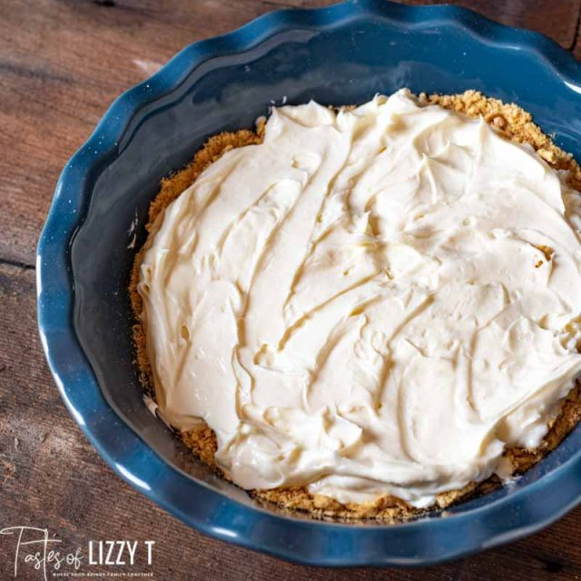 cream cheese layer in pie plate